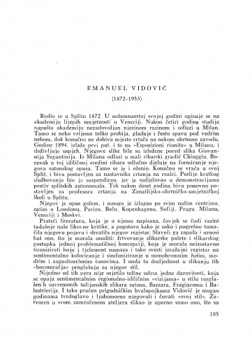 Emanuel Vidović (1872-1953) : [nekrolog] / J. Miše