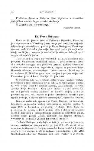 Dr. Franc Babinger / G. Manojlović