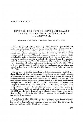Interes francuske revolucionarne vlade za strane književnosti i Dubrovnik / Rudolf Maixner
