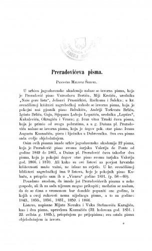 Preradovićeva pisma : Građa za povijest književnosti hrvatske