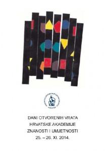 Dani otvorenih vrata Hrvatske akademije znanosti i umjetnosti : 25.-26. XI. 2014. : [program događanja]