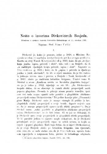 Nešto o izvorima Divkovićevih Besjeda