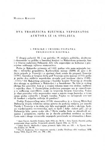 Dva trojezična rječnika nepoznatog autora iz 18. stoljeća
