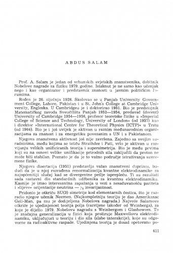 Abdus Salam : [biografije novih članova Akademije]