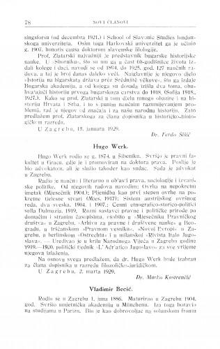 Hugo Werk ; Vladimir Becić / M. Kostrenčić ; Robert Frangeš