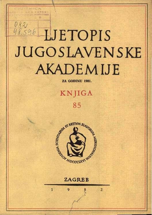 Za godinu 1981. Knj. 85 : Ljetopis