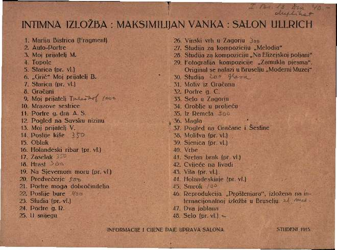 Intimna izložba: Maksimilijan Vanka: Salon Ullrich