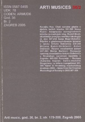 God. 36(2005), br. 2 : Arti musices