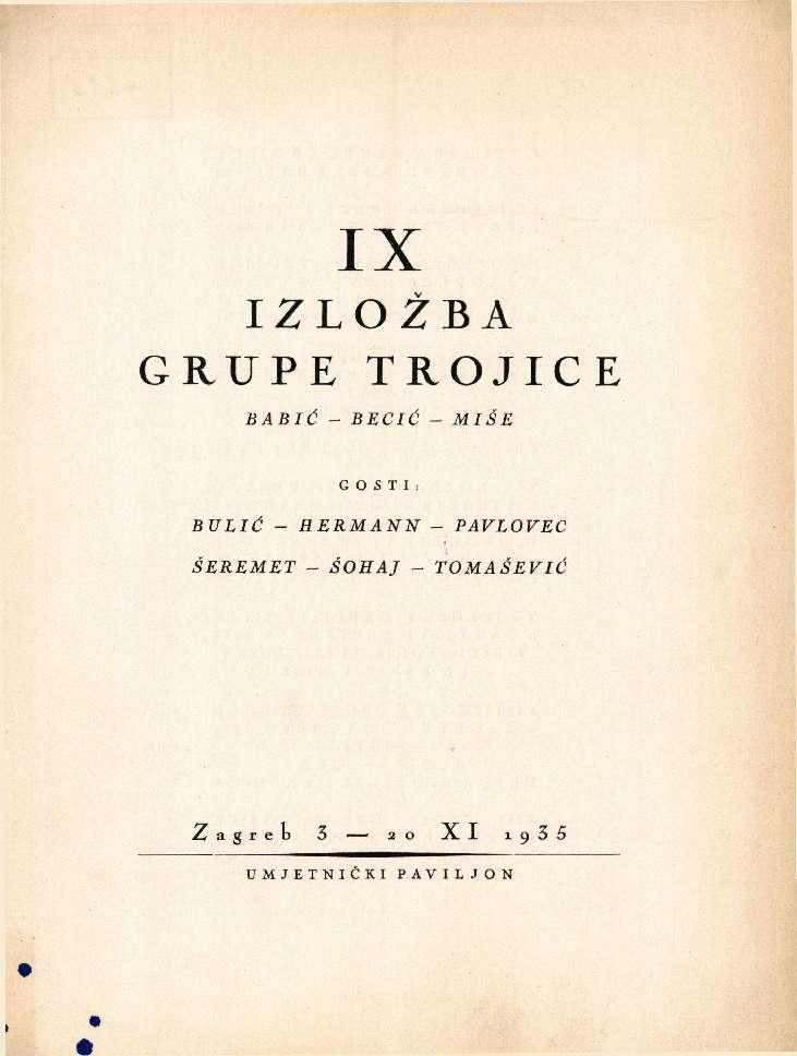 IX.Izložba Grupe Trojice