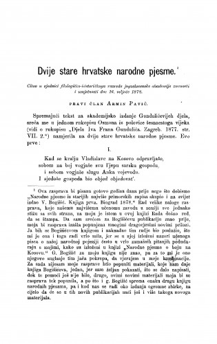 Dvije stare hrvatske narodne pjesme : RAD