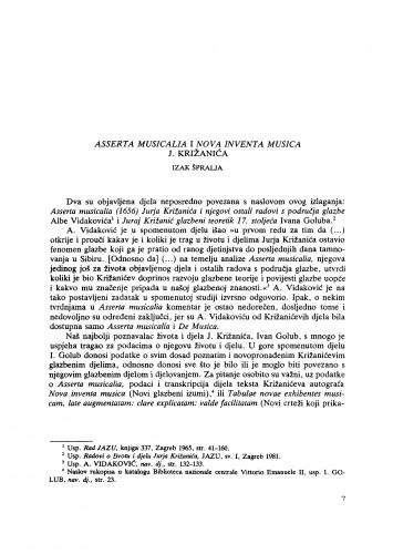 Asserata musicalia i Nova inventa musica J. Križanića