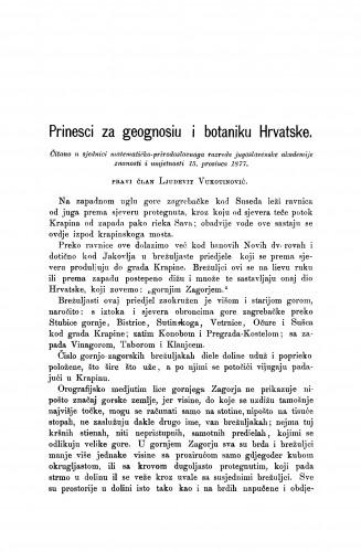 Prinesci za geognosiu i botaniku Hrvatske : RAD