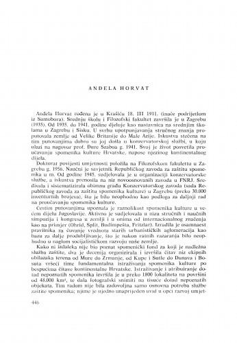 Anđela Horvat : [biografije novih članova Akademije]