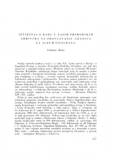 Izvještaj o radu u našim primorskim arhivama na proučavanju gradiva za album filigrana / V. Mošin