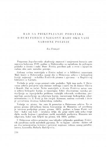 Rad na prikupljanju podataka o Đuri Feriću i njegovu radu oko naše narodne poezije / I. Frangeš