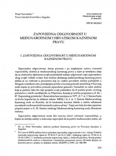 Zapovjedna odgovornost u međunarodnom i hrvatskom kaznenom pravu