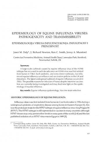Epidemiology of equine influenza viruses: pathogenicity and transmissibility