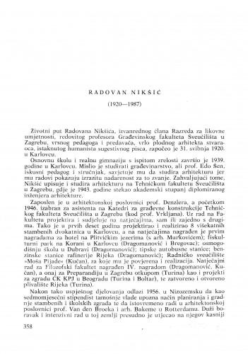 Radovan Nikšić (1920-1987) : [nekrolozi] / Drago Galić