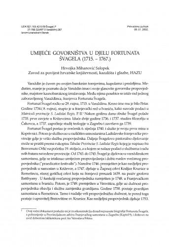 Umijeće govorništva u djelu Fortunata Svagela (1715-1767)
