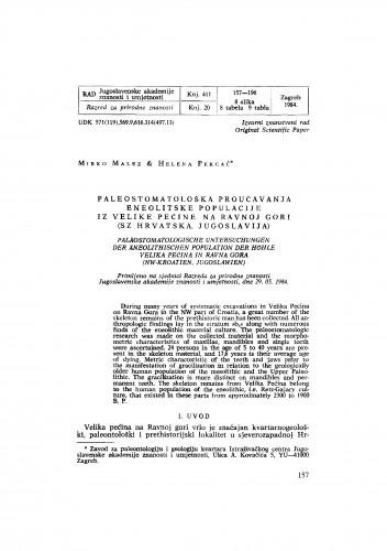 Paleostomatološka proučavanja eneolitske populacije iz Velike pećine na Ravnoj gori (SZ Hrvatska, Jugoslavija)