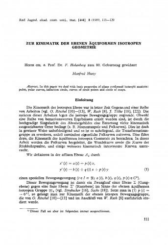 Zur Kinematik der ebenen Äquiformen isotroper Geometrie