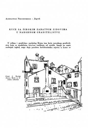 Kuće sa širokim zabatnim zidovima u narodnom graditeljstvu / A. Freudenreich