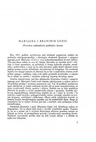 Marijana i Branimir Gušić : (povodom sedamdesete godišnjice života) / M. Marković