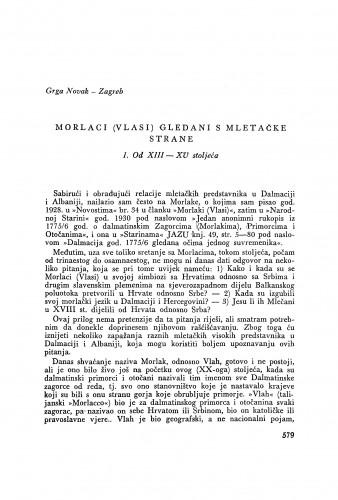 Moralci (Vlasi) gledani s mletačke strane / G. Novak
