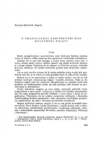 O tradicijskoj arhitekturi kao kulturnoj pojavi / K. Marković