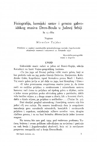 Fiziografija, kemijski sastav i geneza gabroidskog masiva Dren-Boula u Južnoj Srbiji