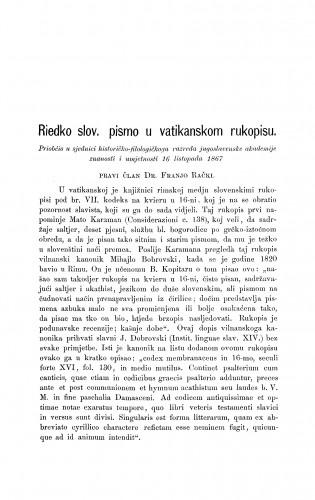 Riedko slov. pismo u vatikanskom rukopisu : RAD