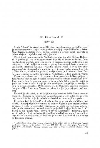 Lous Adamič (1899-1951) : [nekrolog]