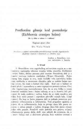 Postfloralna gibanja kod pontederije (Eichhornia crassipes Solms)