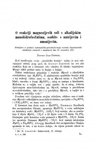 O reakciji magnezijevih soli s alkalijskim monohidrofosfatima, osobito s natrijevim i amonijevim