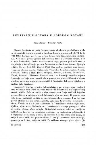 Ispitivanje govora u Gorskom kotaru / V. Barac i B. Finka