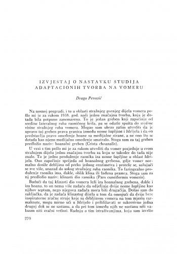 Izvještaj o nastavku studija adaptacionih tvorba na vomeru / D. Perović