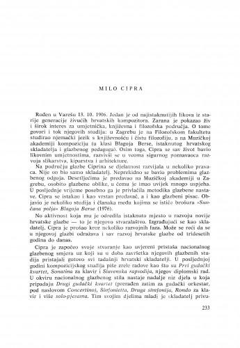 Milo Cipra : [biografije novih članova Akademije]
