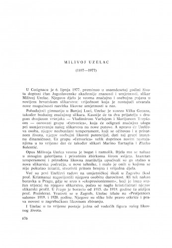 Milivoj Uzelac (1897-1977) : [nekrolozi] / F. Šimunović