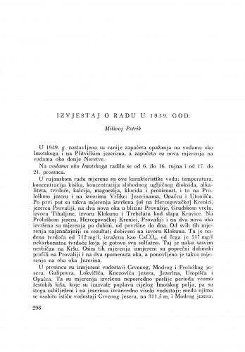 Izvještaj o radu u 1959. god / M. Petrik