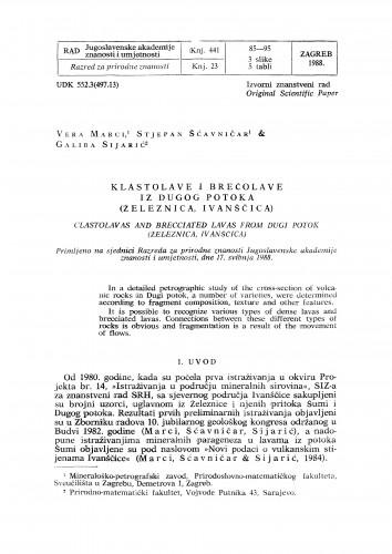 Klastolave i brečolave iz Dugog potoka (železnica, Ivanščica)