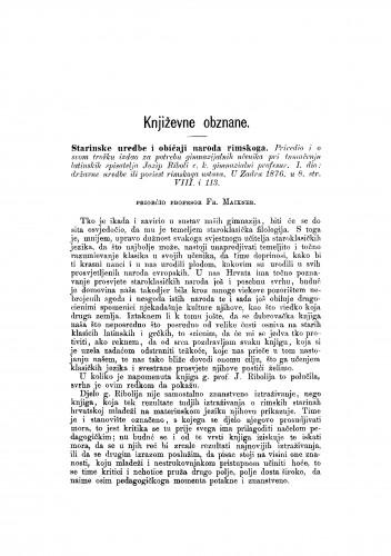 Starinske uredbe i običaji naroda rimskoga : [književna obznana] : RAD