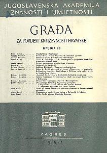 Knj. 28(1962) : Građa za povijest književnosti hrvatske