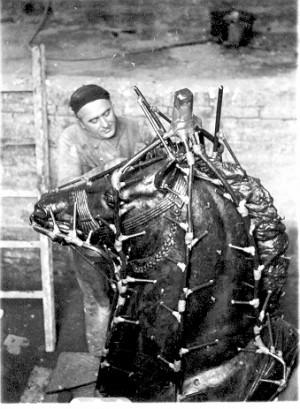 Augustinčić, Antun (1900-1979) : Izrada glave konja za spomenik Palim Nišlijama