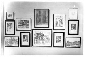 Detalj postava jugoslavenske grafike unutar paviljona za suvremenu umjetnost, Međunarodna izložba u Barceloni 1929.