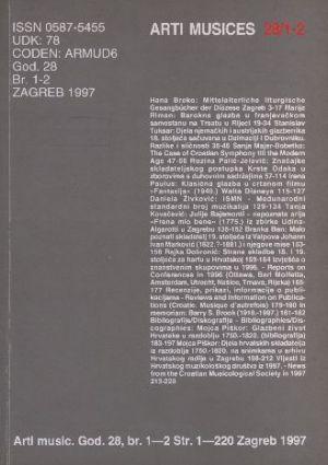 God. 28(1997), br. 1-2 : Arti musices