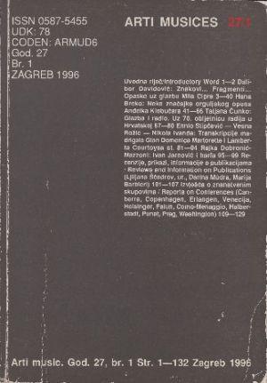God. 27(1996), br. 1 : Arti musices