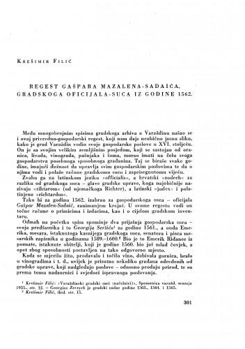 Regest Gašpara Mazalena-Sadaića, gradskog oficijala-suca iz godine 1562. / Krešimir Filić