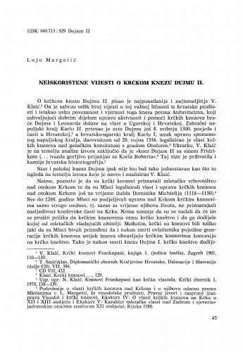 Neiskorištene vijesti o krčkom knezu Dujmu II. / Lujo Margetić