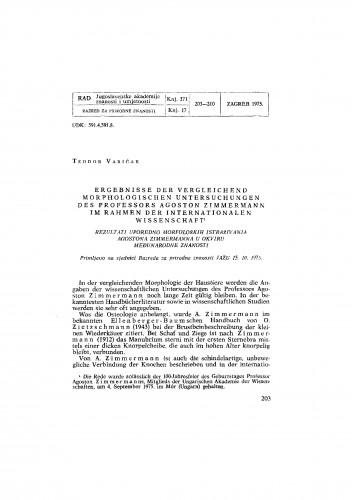 Ergebnisse der vergleichend morphologischen Untersuchungen des Professors Agoston Zimmermann im Rahmen der internationalen Wissenschaft