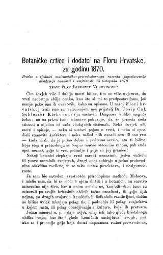 Botaničke crtice i dodatci na Floru Hrvatske, za godinu 1870 : RAD